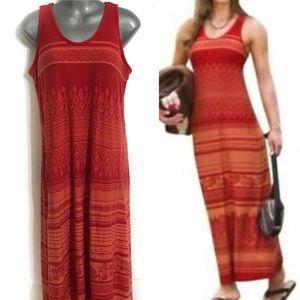 Athleta Red Orange Tribal Print Maxi Dress Large